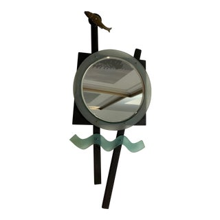 1980s Hand Mirror Fashioned From Aqua and Black Acrylic Resin With Beveled Glass by Artist Kirsten Hawthorne For Sale