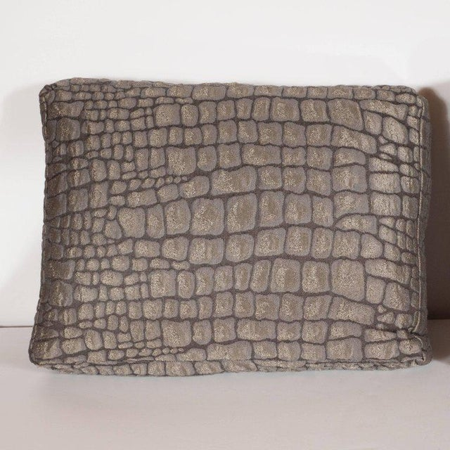 This fun and fabulous pair of modernist pillows in gauffraged crocodile print in an antique bronze metallic hue are sure...