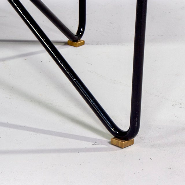 Italian Mid Century Style Bench With Black Iron Hairpin Legs For Sale - Image 9 of 11