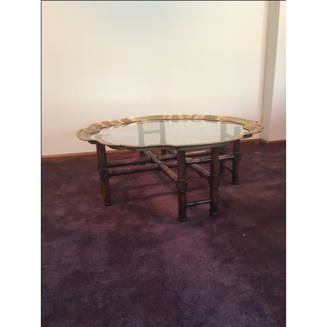 Vintage Baker Furniture Brass & Glass Coffee Table