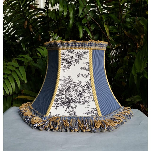 Not Yet Made - Made To Order Toile Lampshade Blue Ticking Mustard Stripe Trim For Sale - Image 5 of 10