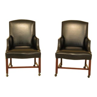 Kittinger Black Leather Chippendale Office Chairs - A Pair