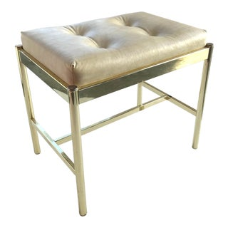 1970's Hollywood Regency Brass Bench in Naugahyde For Sale
