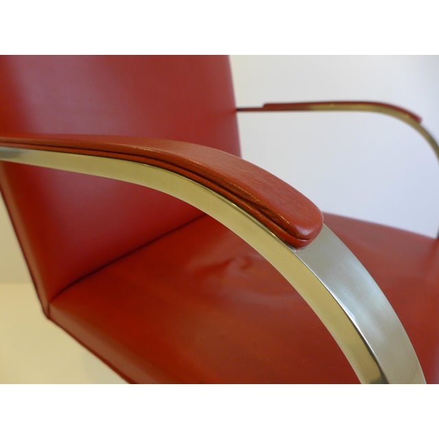 Vintage Pair of Knoll Brno Chairs in Red Leather For Sale - Image 9 of 9