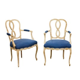 Image of Blue Bergere Chairs
