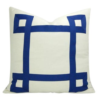 White and Navy Ribbon Euro Sham Pillow Cover For Sale