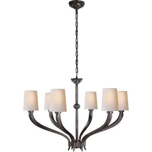 Ruhlmann Style 6 Light 35 Inch Antique Pewter Chandelier Ceiling Light by Visual Comfort