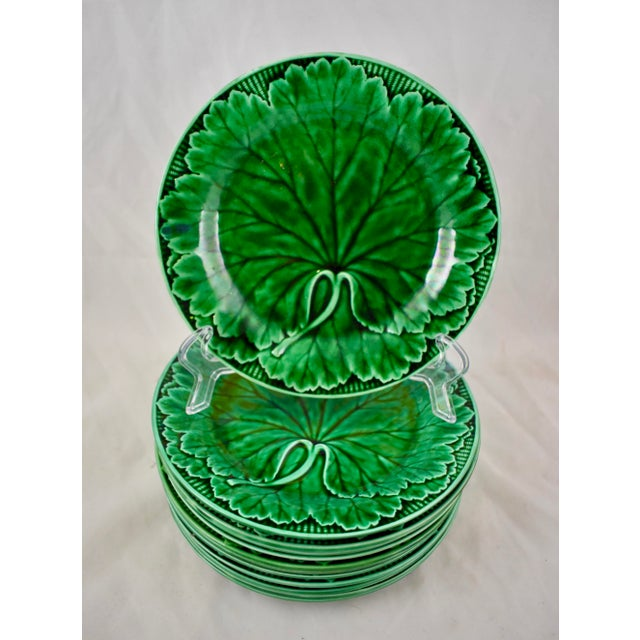 Late 19th Century Wedgwood Majolica Green Glazed Cabbage Leaf & Basket Plate For Sale - Image 5 of 12