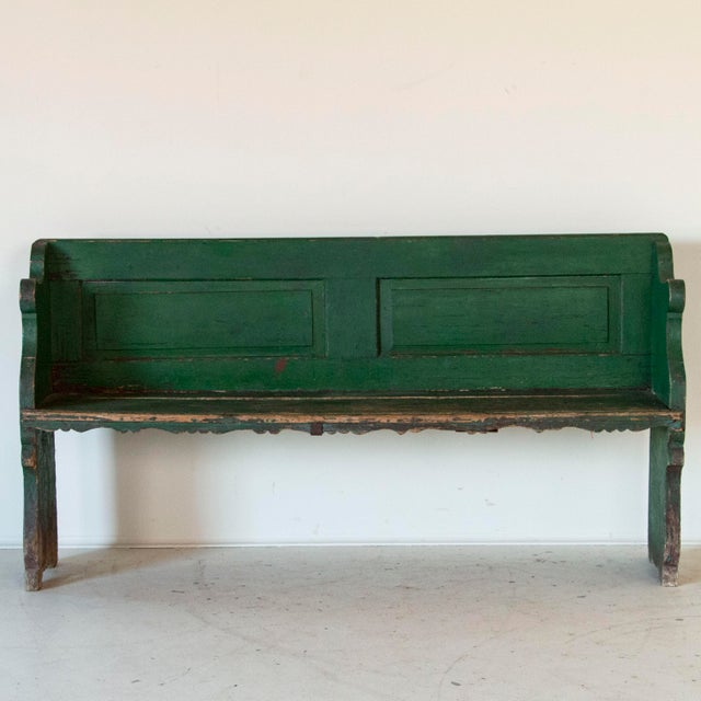 This delightful country bench still maintains its original vibrant green paint reminiscent of green rolling hills and...