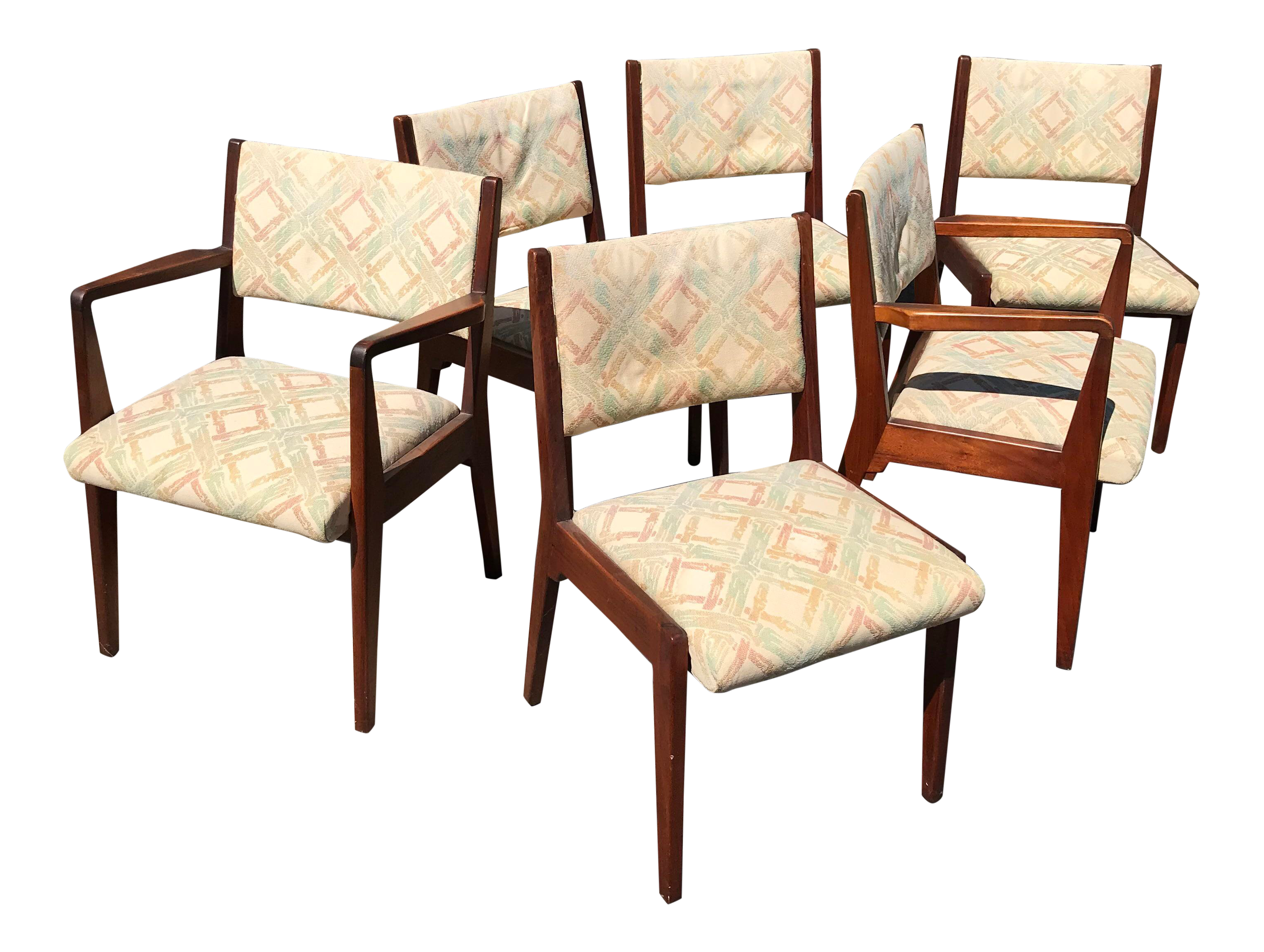 Jens Risom Walnut Dining Chairs   Set Of 6