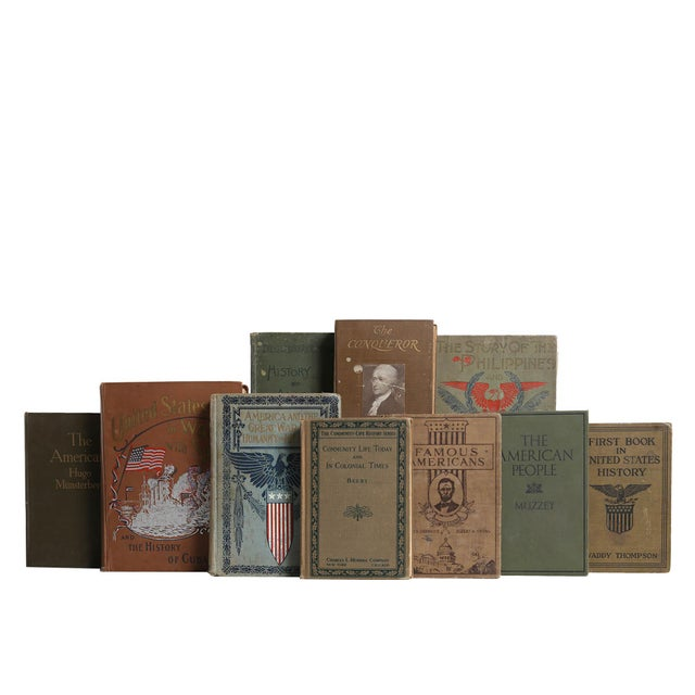 Weathered American History Book Set, S/20. Twenty vintage books featuring a collection of American history themed...