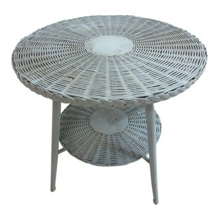 Antique Victorian Wicker Patio Dinette Table For Sale