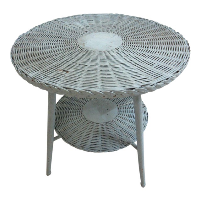 Antique Victorian Wicker Patio Dinette Table For Sale