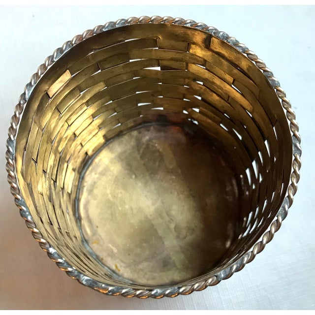 Mid 20th Century Vintage Brass Woven Pencil Can For Sale - Image 5 of 7
