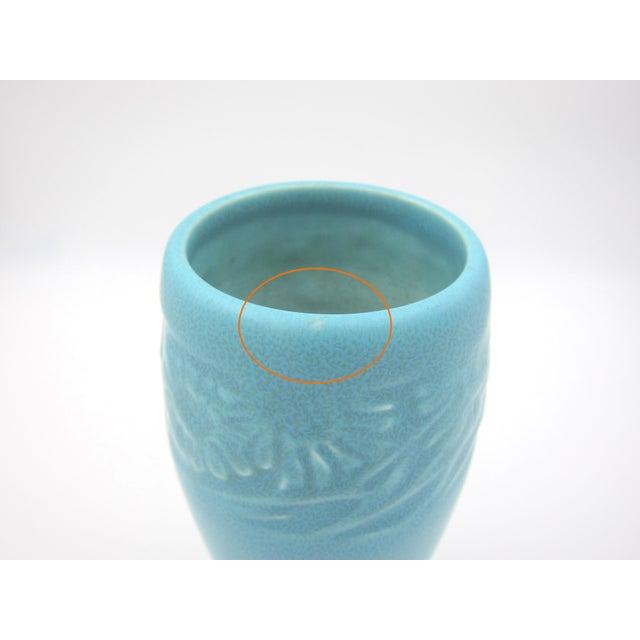 Blue 1930 Vintage Rookwood Pottery Arts & Crafts Blue Sunflower Vase For Sale - Image 8 of 12