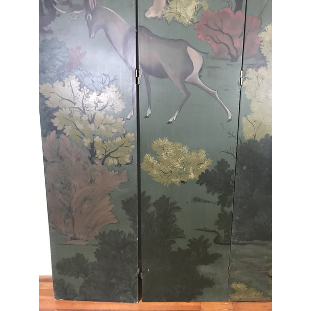 Painted Four Panel Screen With Landscape and Deer For Sale - Image 12 of 13