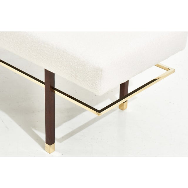 1950s Harvey Probber Brass Frame Bench in White Boucle, 1950 For Sale - Image 5 of 7