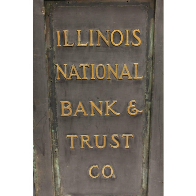 """Industrial Early 20th C. Antique """"Illinois National Bank & Trust Co."""" Brass Sign For Sale - Image 3 of 5"""