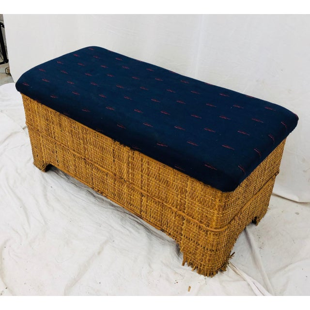 1900s Antique Woven Bamboo Blanket Bench For Sale - Image 5 of 10