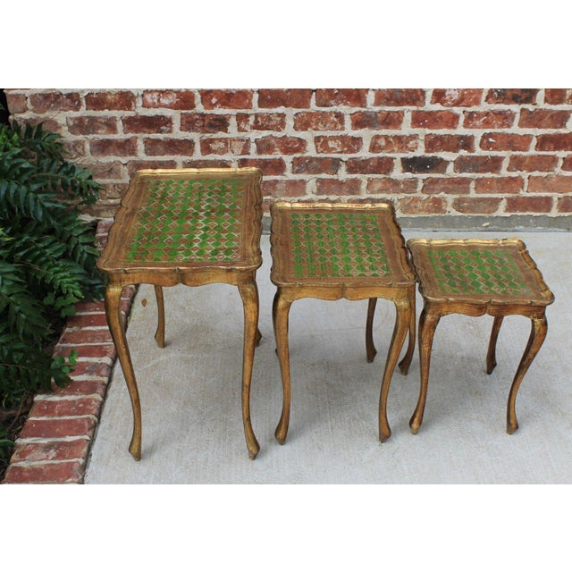 Mid 20th Century Vintage Italian Gold & Green Tole Nesting Tables Gilt Florentine Set of 3 For Sale - Image 5 of 13