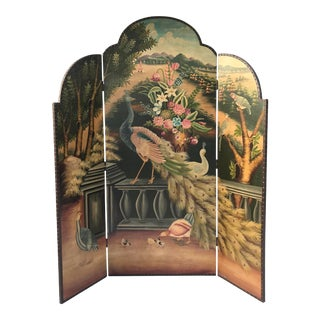 Hand-Painted Peacock Folding Screen Room Divider For Sale