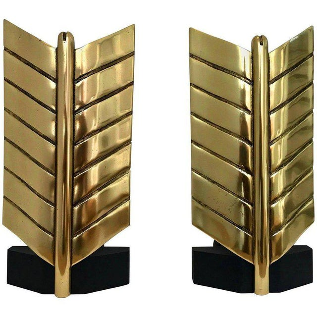 Large Brass and Iron Arrow Andirons - a Pair For Sale - Image 11 of 12