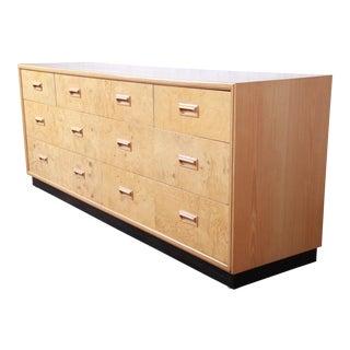Milo Baughman Style Burl Wood Long Dresser or Credenza by Henredon For Sale