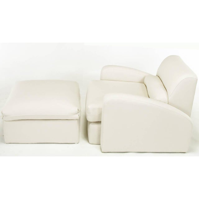 Jay Spectre Steamer Lounge Chair with Ottoman - Image 3 of 6