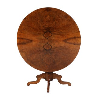 19th Century Traditional Burlwood Round Tilt-Top Pedestal Table For Sale