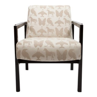 Re: Floor Model Lounge Chairs With Black Buff Lacquered Frame and Brass Accents For Sale