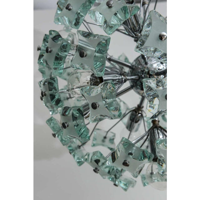 Chrome 1960's Italian Green Glass Sputnik Chandelier For Sale - Image 8 of 8