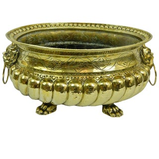 19th Century Polished Brass Large Jardiniere or Planter With Cast Feet For Sale