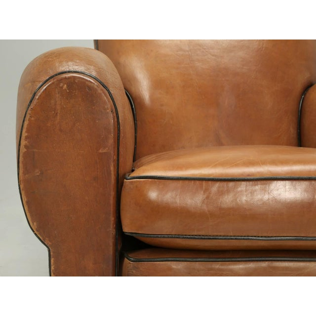 Animal Skin French Fully Restored Club Chairs in Original Leather - a pair For Sale - Image 7 of 10