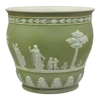 Wedgwood Sage Green Jasperware Planter For Sale