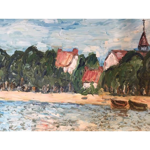 Modern Vintage Mid-Century S. Kim Impressionist Inspired Seascape Oil Painting For Sale - Image 3 of 10