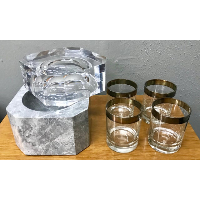 Stone Modern New Gray Marble & Lucite Octagon Ice Bucket For Sale - Image 7 of 8