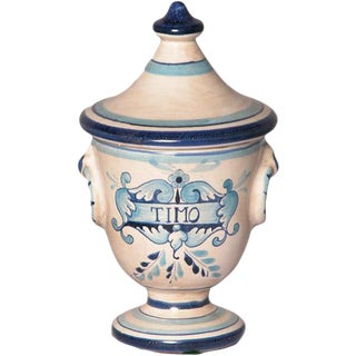 Italian Hand Painted Ceramic Timo Thyme Urn For Sale