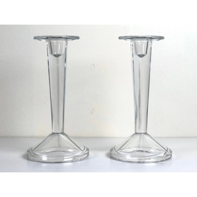Glass Minimalist Solid Clear Glass Candle Holders - A Pair For Sale - Image 7 of 7