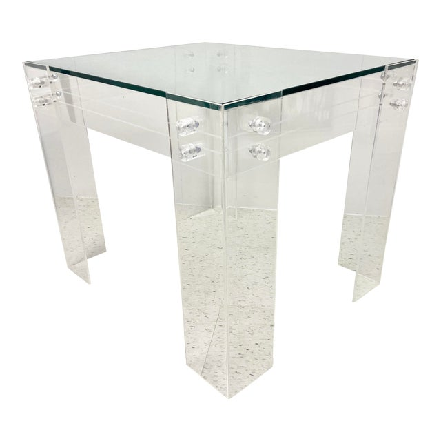 1970s Modernist Lucite and Glass Coffee Table For Sale