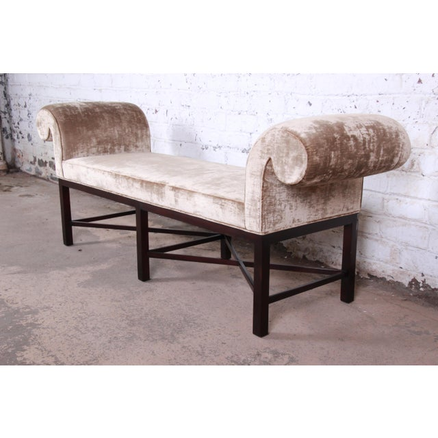Wood Baker Furniture Mahogany and Velvet Window Bench For Sale - Image 7 of 12