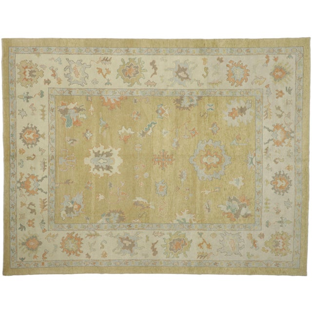 Contemporary Turkish Oushak Rug - 10′2″ × 13′2″ For Sale - Image 9 of 10