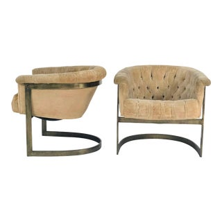 John Stuart Mid-Century Tufted Lounge Chairs - A Pair