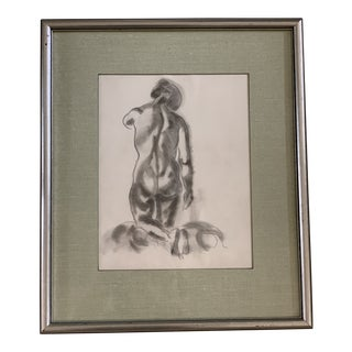 Vintage 1974 Artist Sketch Female Nude For Sale