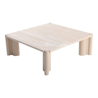 Gae Aulenti Jumbo Travertine Square Coffee Table For Sale