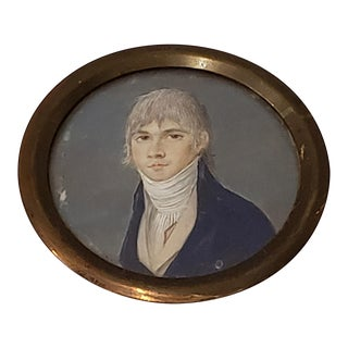 19th Century Miniature Portrait of a Young Man Wearing a Cravat For Sale