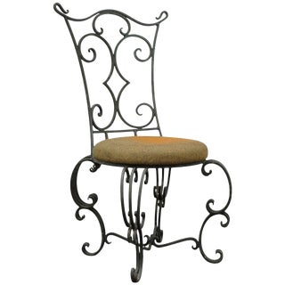 Vintage French Art Nouveau Style Wrought Iron Side Chair For Sale