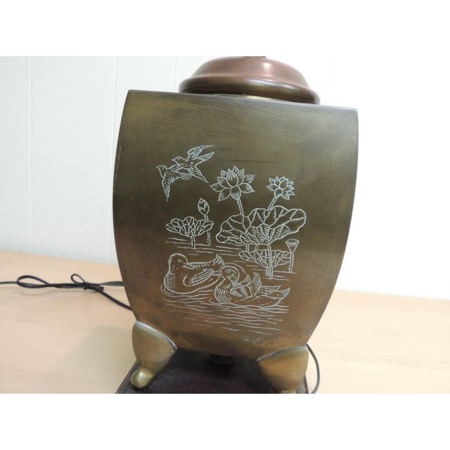 Mid-Century Modern Asian Brass Table Lamp For Sale - Image 5 of 6