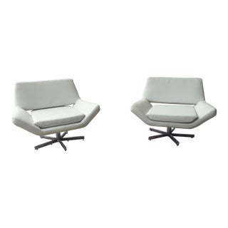 Faux Leather Space Age Swivel Chairs - a Pair For Sale