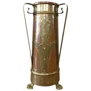 Arts and Crafts Copper and Brass Umbrella Stand For Sale