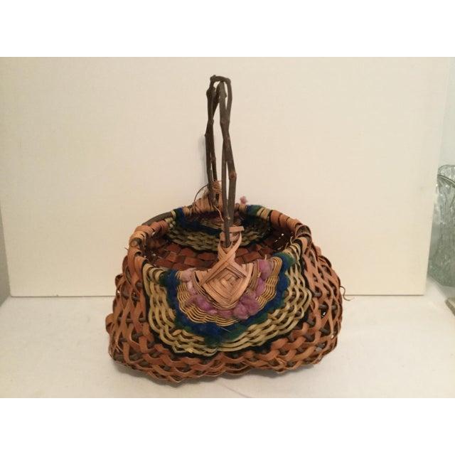 Wood Vintage Rustic Cottage Style Basket For Sale - Image 7 of 7